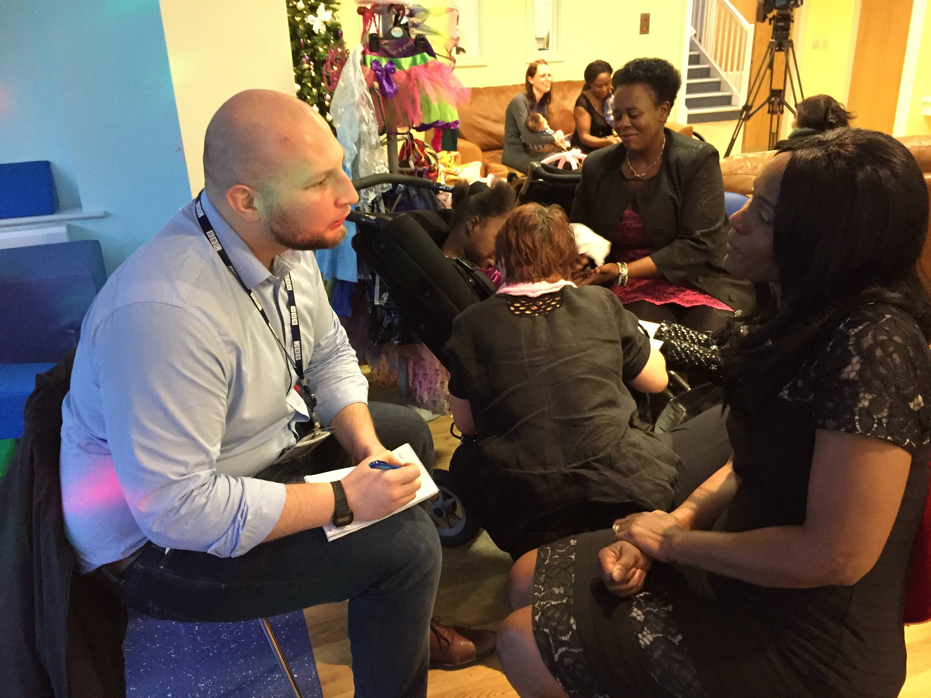 BBC Radio Manchester interviews families at a charity event and press day