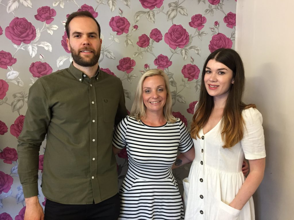 Business coach Matt Essam, Northern Creative Collective founder and Unhooked Communications MD Claire Gamble, The Freelance Kit and Purple Riot director Nikki Kitchen at the Freelance Finance event at Ziferblat Edge Street, Manchester