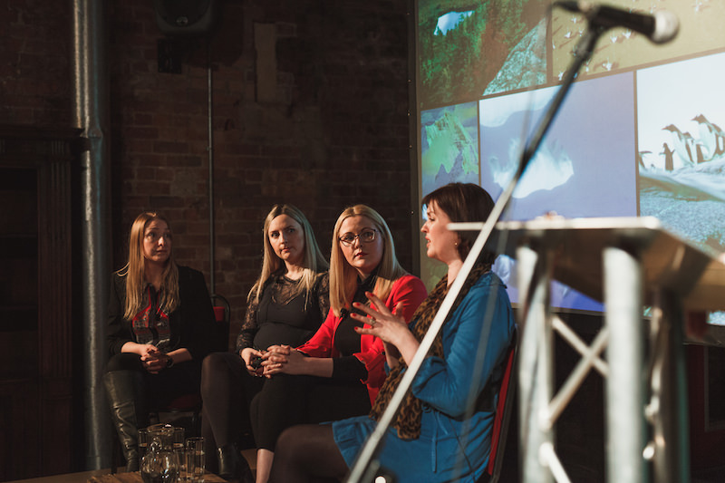 Bloggers Kate Baxter, Holly Wood, Fiona Newsam, Katie Portman at Influencers Unhooked discussing influencer marketing