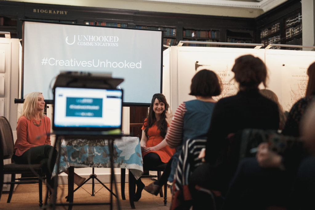 Sara Tasker Me & Orla talking about Instagram, content marketing and creative careers at a PR, marketing and social media event in Manchester - Unhooked Communications, Public Relations in Manchester