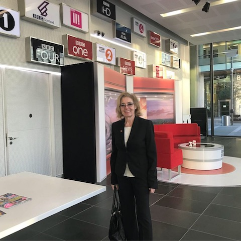Construction PR agency example: Barbara Res, keynote speaker of Inspire Summit, at MediaCity for interviews with BBC Woman's Hour and BBC Radio Manchester, secured by construction PR and marketing agency Unhooked Communications