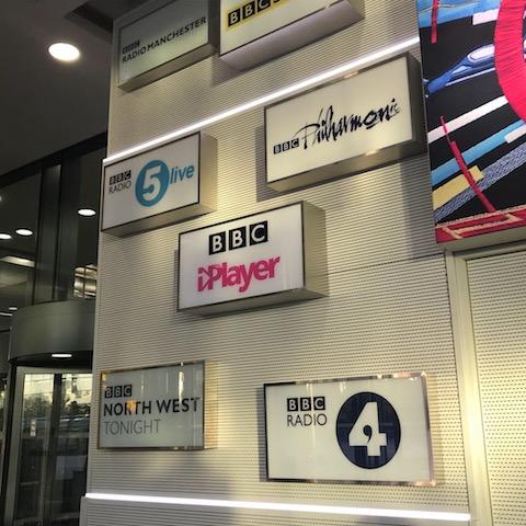 BBC logos at Quay House, MediaCity