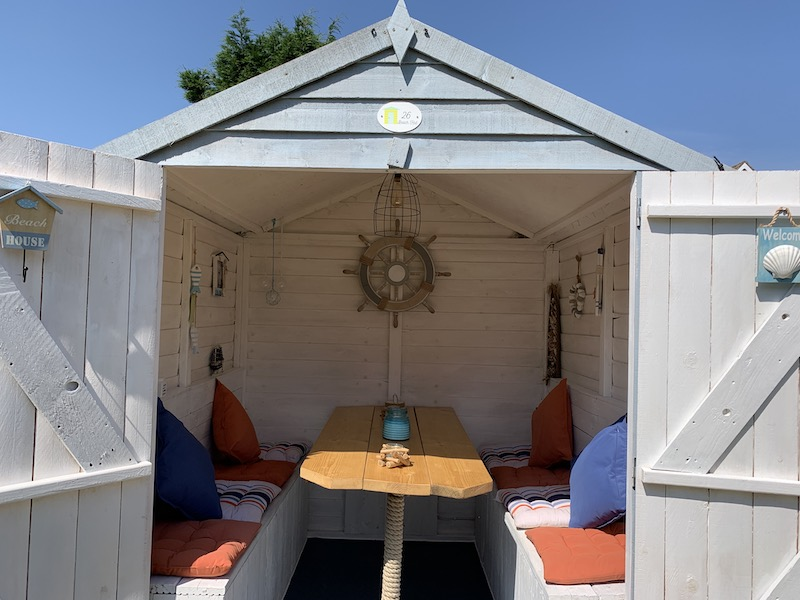 Katie Lauren created a beach hut for her garden - inspired by her holiday in Cornwall last year _ Unhooked Communications home improvements research
